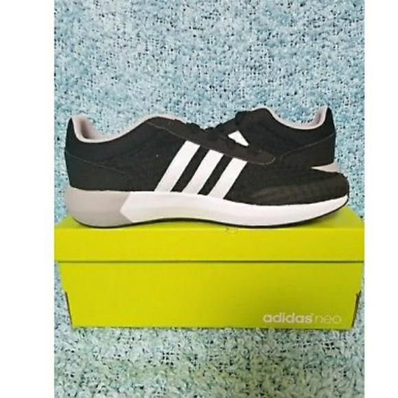 Zapatillas adidas neo cloudfoam Race negro blanco Stripes SZ 5 poshmark